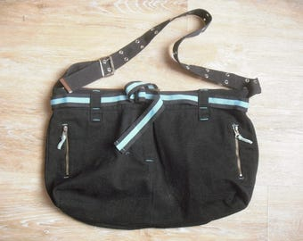 canvas tote bag Navy Blue and turquoise, fully lined