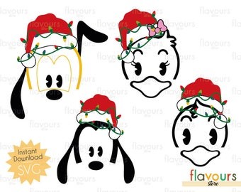 Disney Characters Christmas Lights - Pluto Goofy Daisy Donald  - Disney Christmas - INSTANT DOWNLOAD - For Cutting - Only SVG Files