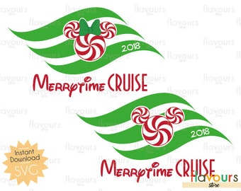 Minnie and Mickey Peppermint Merrytime Cruise - Disney Christmas - INSTANT DOWNLOAD - For Cutting - Only SVG Files