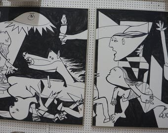 Picasso Mid Century Modern Paintings after of Guernica,Large in Stainless Steel Frames,Follower of Picasso,Stunning Paintings!