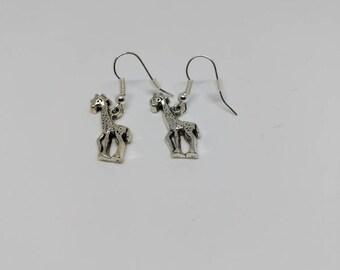 Silver plated/stirling silver giraffe drop earrings