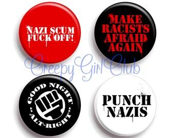 Make Racists Afraid Again Antifa Pin Set: Punch Nazis, Nazi Scum Fuck Off, Good Night Alt-Right