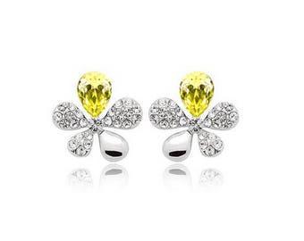 Yellow Crystal Stones Flower Butterflies Earrings Jewellery Womens Love - Perfect Gift Present Birthday Ladies Girls Children Xmas Ear Ring
