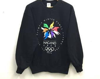 Olympic Winter Games Nagano Sweatshirt by Mizuno big logo XL size