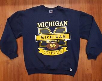 Vintage Michigan Wolverines Sweatshirt, Michigan Crew Neck, Navy Blue Sweatshirt, Size XL