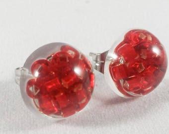 Red beads resin stud earrings, hypoallergenic stainless steel
