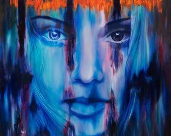 "16x16"" fine art print painting, blue female face, abstract colourful, texture, original Irish, tribal beauty, gift, digital, oil, woman"