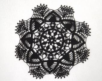 "Round black doily (26.5cm or 10.43""), crochet tablecloth, home decoration, gift, table centrepiece, coffee tablecloth, coaster"