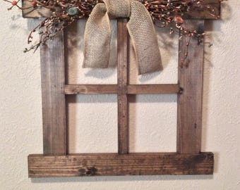 Large Primitive Country Wall Decor With Primitive Pip Garland Decor For Living  Room Handmade Wood Window