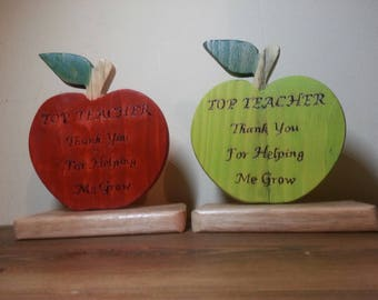 Reclaimed wood hand made thank you teacher gift best teacher apple gift