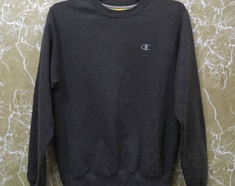 Vintage Champion crewneck jumper spell out sweatshirt gray colour