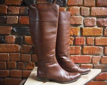 Women's 90s Ralph Lauren Designer Tan Brown Knee High Riding Boots Size US 7