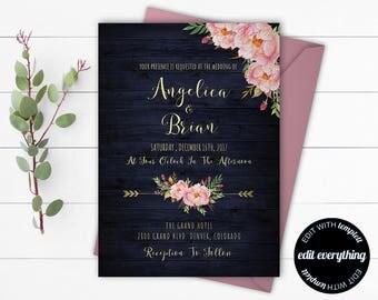 Navy Blue Rustic Printable Wedding Invitations - Navy Blue Wedding Invitation Template - Navy Blue Country Wedding Invitation Template