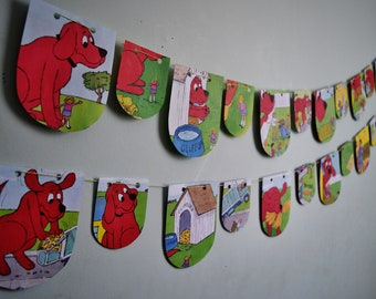 CLIFFORD the BIG RED Dog Set of 2 Paper Buntings Kids Birthday Bunting Kids Birthday Banner Dog Banner Nursery Decor