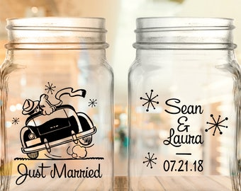 "Custom Retro ""Just Married"" 2-Sided Wedding Favor Mason Jars"
