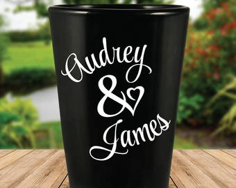 Custom Personalized Heart Black Wedding Favor Shot Glasses