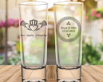 Custom Celtic Claddagh 2-Sided Tall Wedding Favor Shot Glasses