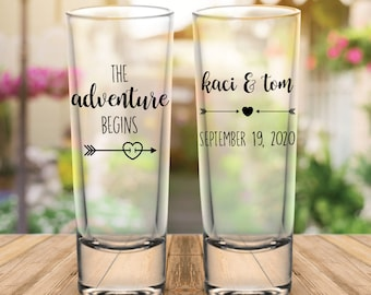 "Custom ""The Adventure Begins"" Tribal Arrows 2-Sided Tall Wedding Favor Shot Glasses"