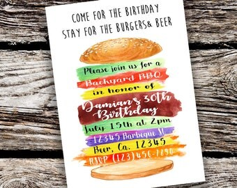 Digital Burgers and Beer BBQ Birthday Invitation File