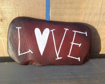 Love Painted Rock Paperweight | Home Decor | Garden Decor