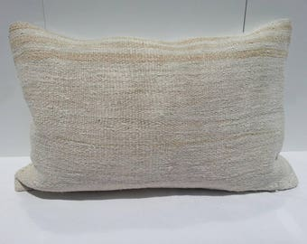 Hemp white Kilim Pillow,Turkish bedroom Pillow,living room Decoration Handwoven Decorative Turkish Kilim Pillow Lumbar,16x24 inches 40x60 cm