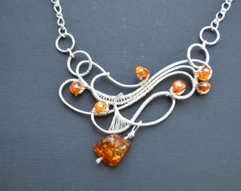 Wire wrapped Necklace with Amber Beads