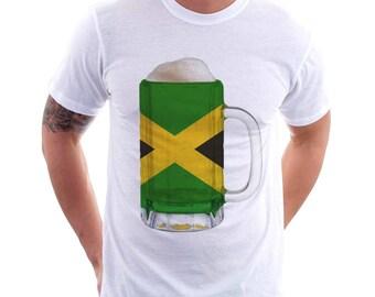 Jamaica Country Flag Beer Mug Tee, Home Tee, Country Pride, Country Tee, Beer Tee, Beer T-Shirt, Beer Thinkers, Beer Lovers Tee, Fun Tee