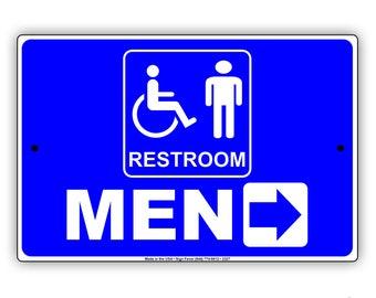 Restroom for Men Wheelchair Handicap Directional Right Arrow Metal Sign