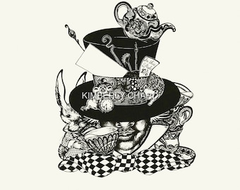 Mad Hatters Tea Party Giclee fine art print, alice in wonderland inspired