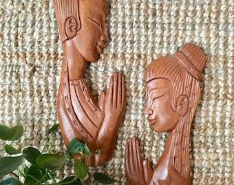 Pair of Vintage - Carved Wood - Praying Man and Woman