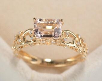Morganite Engagement Ring Vintage Emerald Cut Art Deco Engagement ring Antique Cluster Diamond wedding women Delicate Promise anniversary