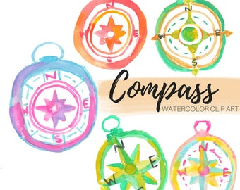 Compass clip art - Watercolor clip art - Travel Clip Art - Watercolor Compass - Commercial use