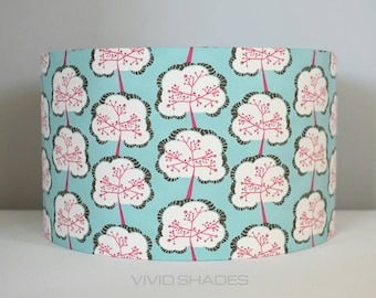 Retro tree fabric light / lampshade handmade by vivid shades, stylish japanese abstract pattern custom made funky gift
