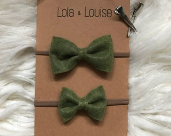 Felt bow headband or clips