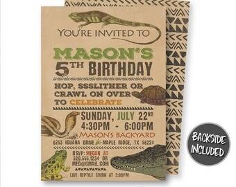 Reptile Birthday Invitation, Reptile Invitation, Reptile Printable Invitation, Lizard Invite, Snake Invitation, Printable Invitation