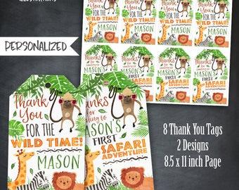 Safari Thank You Tags, Safari Adventure Tags, Safari Favors, Jungle Animals Tags, Jungle Tags, Birthday Party, Personalized, Printables, DIY