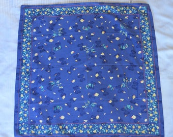 Vintage Ginnie Johansen Cotton Scarf Blue Yellow Rose Floral French Provencal Shabby Chic
