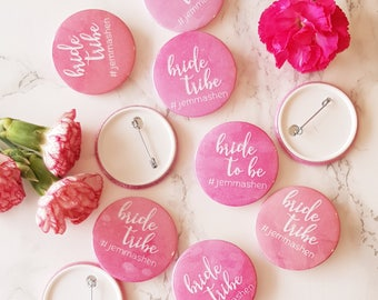 12 x Personalised Bride Tribe Hen Party Badges