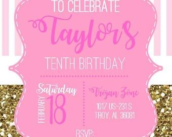 Girl Birthday - Tassel Time - Gold Glitter - Pink Gold