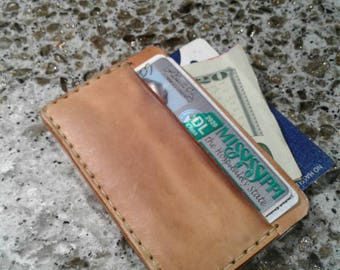 Handmade leather front pocket wallet