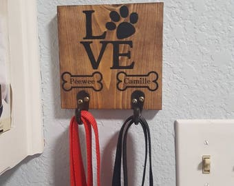 Dog leash hanger, personalized leash holder, pet, dog accessories, leash hanger, leash holder, dog name, hanging leash holder, home decor