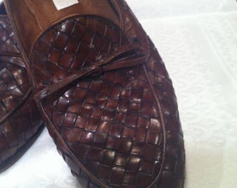 women brown leather loafers vintage talbots, size 6