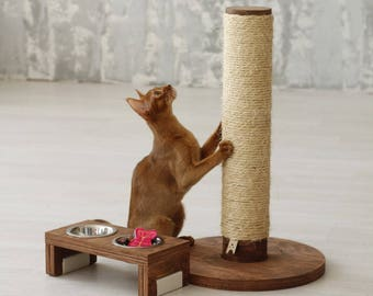 Cat scratching post - Round Pole. Cat scratcher, modern cat furniture, cat furniture, scratching post, cat scratching furniture.