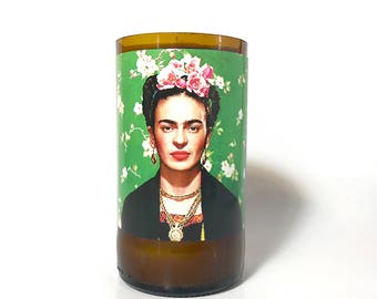 Frida Kahlo Soy Candle / Recycled Glass