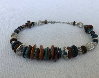 Silver, Brown and Turquoise Chunky Beaded Necklace