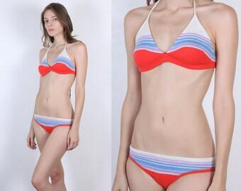 Vintage Knit Bikini // 70s 80s Two Piece Swimsuit Striped Bathing Suit - Small