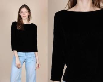 50s Black Velvet Boat Neck Top - XS // Vintage 1950s 3/4 Sleeve Cropped Shirt
