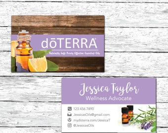 doTerra business card- Essential Oils Business Card - Wellness Advocate - Essential Oils - Rustic Wood - Business Card