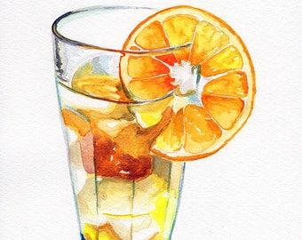 fruit tea summer drink beverage Fine art Print FROM original watercolor by Jennifer Redstreake