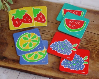 Vintage Drink Coasters, Set of 10, Unused, Abstract Fruit Design,1980's, Bright Colorful, Coasters for Drinks, Vintage Barware, Patio Decor